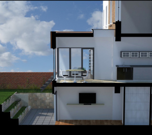Architect designed rear house extension Tufnell Park Camden NW5 3D Section AA 300x266 Tufnell Park, Camden NW5   Rear house extension
