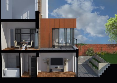 Architect designed rear house extension Tufnell Park Camden NW5 3D Section BB 400x284 Filterable Portfolio of Residential Architecture Projects
