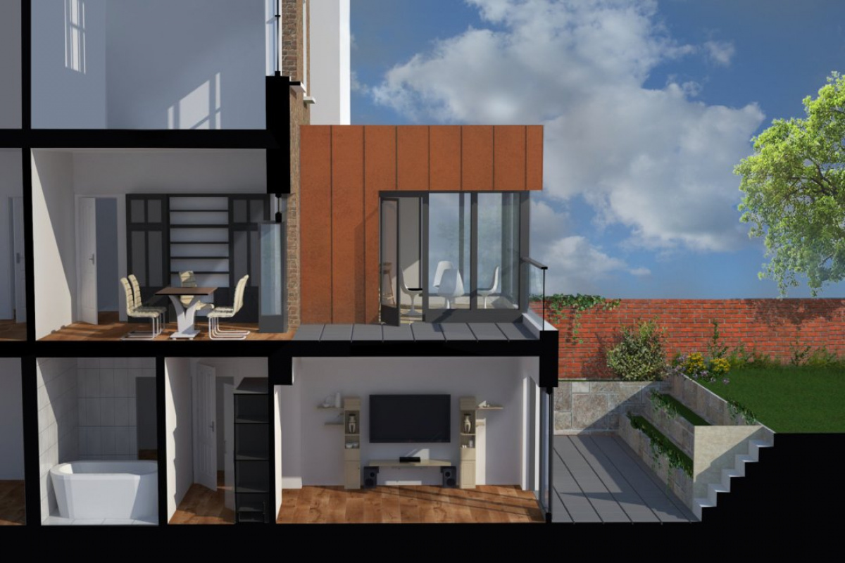 Architect designed rear house extension Tufnell Park Camden NW5 3D Section BB e1582378727186 1200x800 Tufnell Park, Camden NW5 | Rear house extension