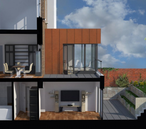 Architect designed rear house extension Tufnell Park Camden NW5 3D Section BB e1582378727186 300x266 Tufnell Park, Camden NW5   Rear house extension