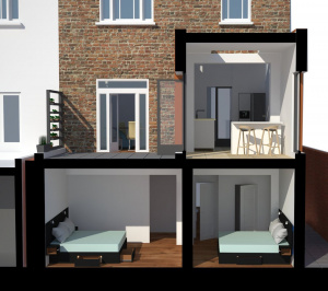 Architect designed rear house extension Tufnell Park Camden NW5 3D Section elevation 300x266 Tufnell Park, Camden NW5 | Rear house extension