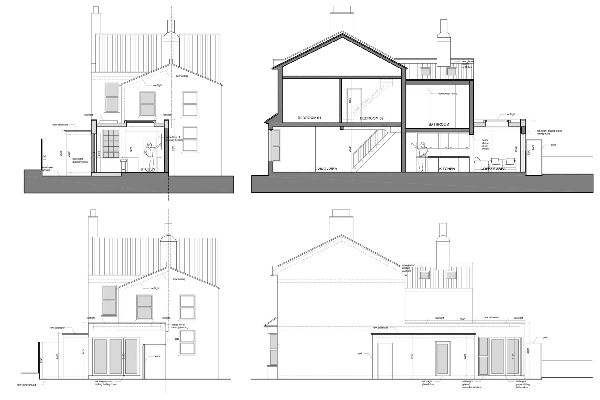 Enfield Chase EN2 Rear house extension refurbishment Sections and elevations Enfield Chase EN2 Rear house extension and refurbishment
