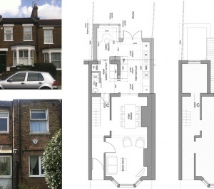 Finchley Central Barnet N3 rear house extension Floor plans 300x266 Finchley Central Barnet N3   Rear house extension