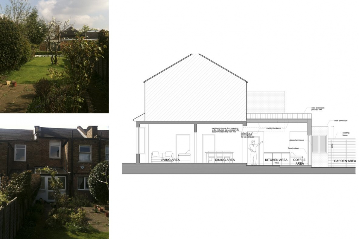 Finchley Central Barnet N3 rear house extension Section AA 1200x800 Finchley Central Barnet N3   Rear house extension