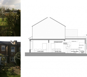 Finchley Central Barnet N3 rear house extension Section AA 300x266 Finchley Central Barnet N3   Rear house extension
