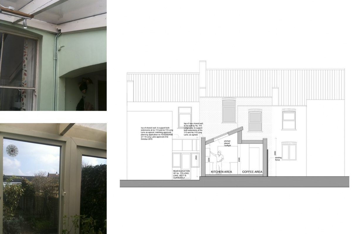 Finchley Central Barnet N3 rear house extension Section BB 1200x800 Finchley Central Barnet N3   Rear house extension