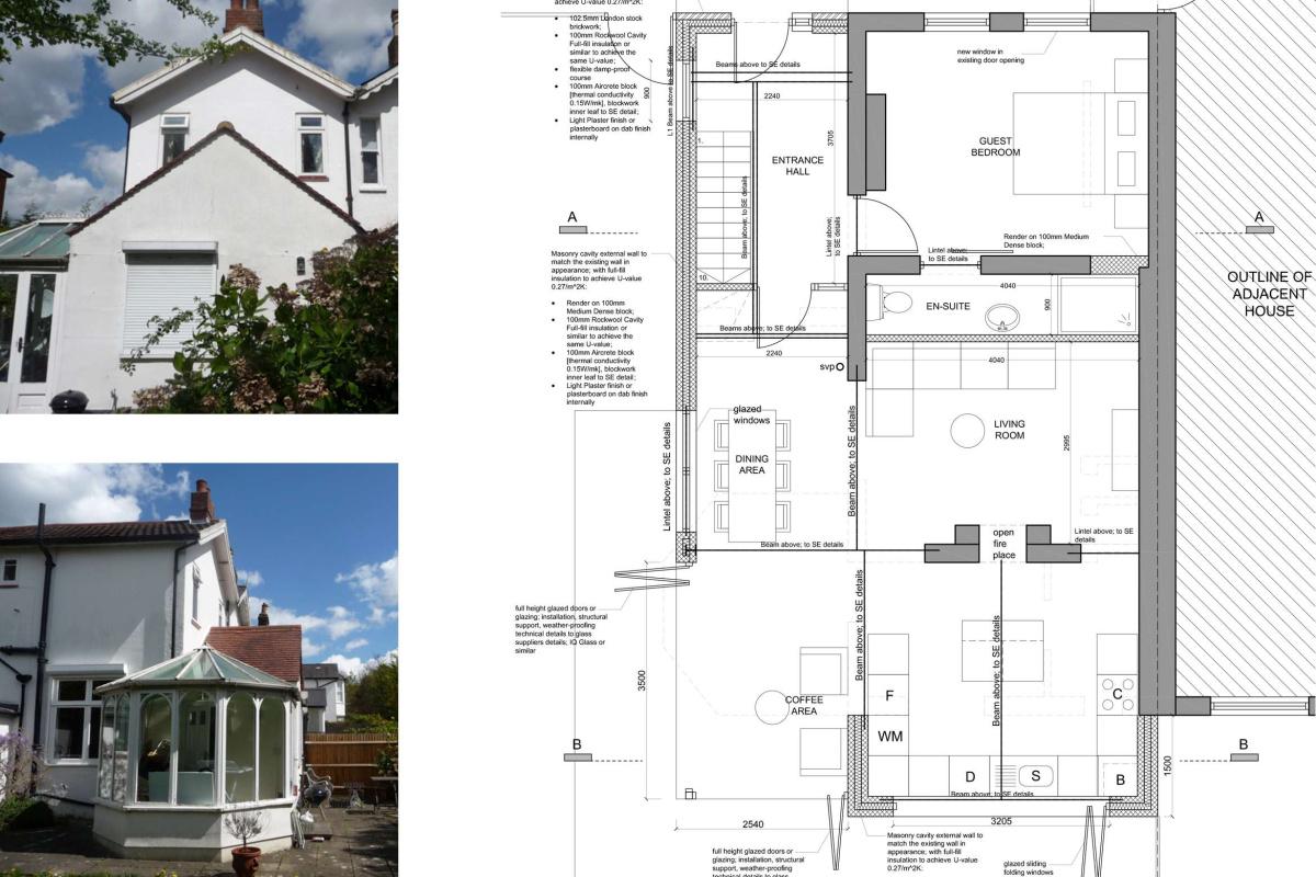 High Barnet EN5 Residential extension locally Listed house Ground floor plan 1200x800 High Barnet EN5 | Locally Listed house extension