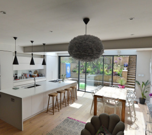 Architect designed rear house extension Highgate Haringey N6 – View from the seating area 300x266 Highgate, Haringey N6 | Rear house extension