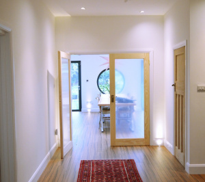 Architect designed residential extension Stoneleigh KT17 – View from entrance hall 300x266 Stoneleigh KT17 | Extension and alterations to a bungalow