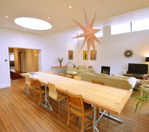 Architect designed residential extension Stoneleigh KT17 – View of dining area 300x266 Stoneleigh KT17 | Extension and alterations to a bungalow