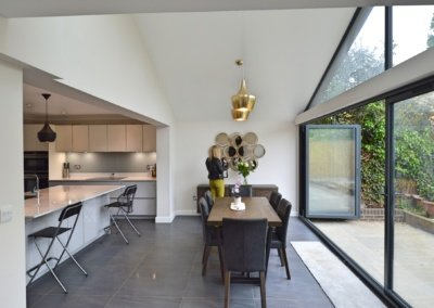 Architect designed roof and kitchen house extension Kingston KT2 Dining area 400x284 GOAStudio | London Residential Architecture