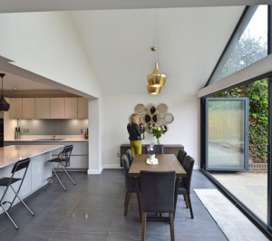 Architect designed roof and kitchen house extension Kingston KT2 Dining area e1582376964759 300x266 Kingston KT2 | Roof and kitchen house extension