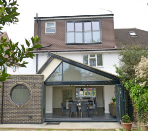 Architect designed roof and kitchen house extension Kingston KT2 Rear elevation 300x266 Kingston KT2 | Roof and kitchen house extension
