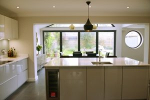 Architect designed roof and kitchen house extension Kingston KT2 View to the garden 300x200 Kitchen extensions London | Home design
