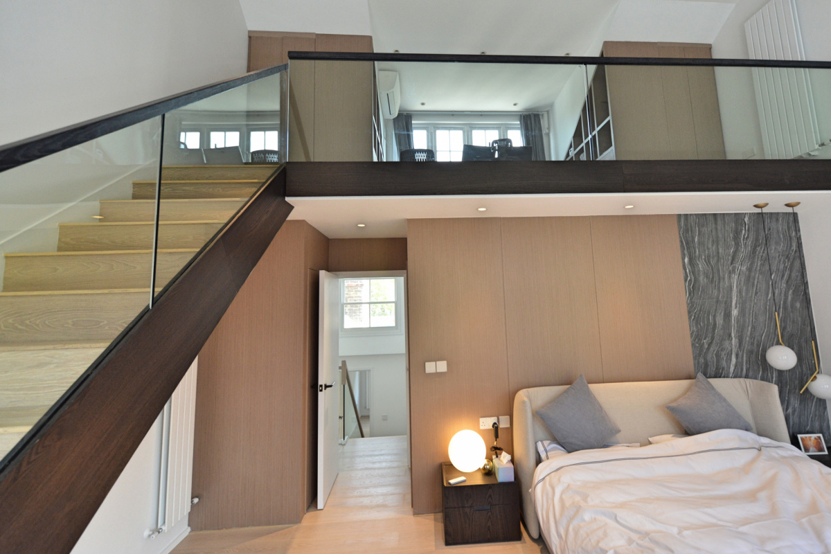 Residential house extension and refurbishment Finchley Road Camden NW6 Master bedroom double height space scaled 1200x800 Residential house extension and refurbishment Finchley Road Camden NW6