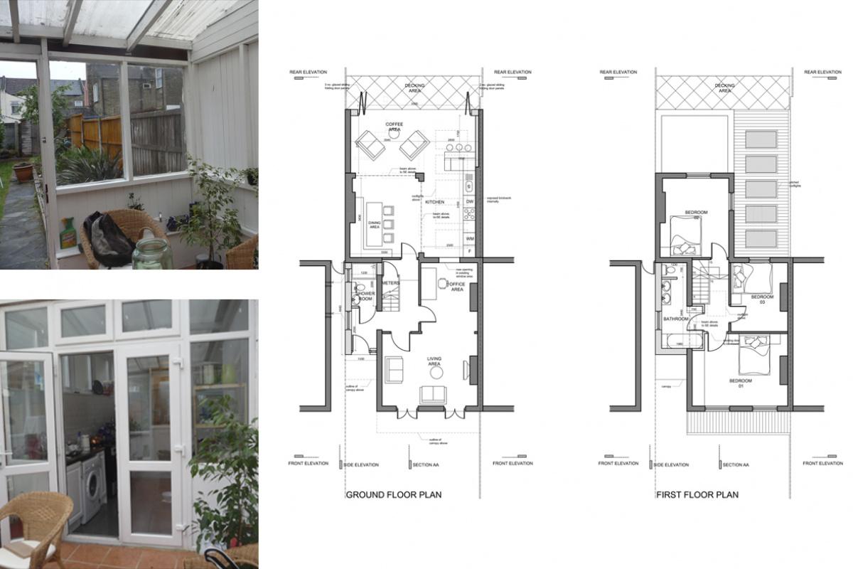 Architect designed house extension Maryland Newham E15 Floor plans 1200x800 Architect designed house extension Maryland Newham E15
