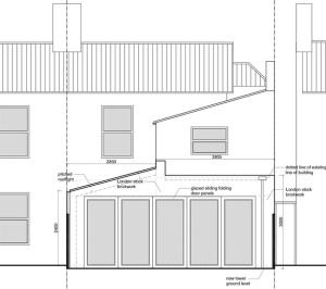 Architect designed house extension Maryland Newham E15 Rear Elevation 300x266 Architect designed house extension Maryland Newham E15